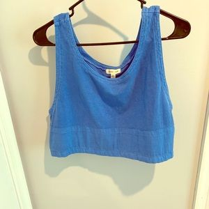Silence + noise Blue Riki Ribbed Cropped Top